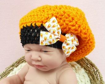 HALLOWEEN BEANIE HAT Slouchy Orange Black Newborn- 3 month Photo Prop Costume Crochet Girl Shower Gift Fall Candy Corn Hair Bow