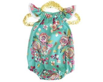 Spring Romper, Cake Smash Outfit, Baby Shower Gift, Mint Romper, Baby Romper, Toddler Romper, Birthday Romper, Girls Summer Outfit