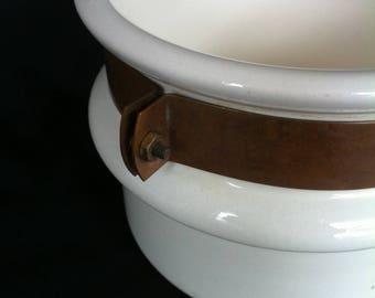 A Heavy White Porcelain/Ceramic With Copper Band And Handle Cookware Piece Marked Waldow Brooklyn N.Y.
