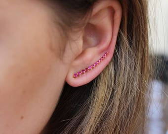 Ruby Ear Climbers in 18K Rose Gold