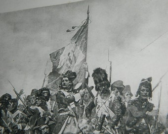 "lithography. Lithograph from the work of LEDRU ""Guard of the flag""."