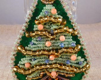 Christmas Tree Bead Embroidered Pendant Handmade USA Seed Beads Crystals Pretty Made in USA