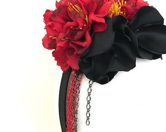 Black and Red Fascinator Headband