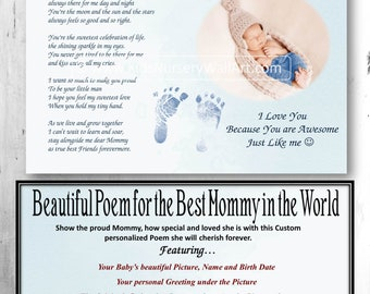 Mother's Day Gift, Gift for New Mommy, Gift for New Mom, New Mom, New Mom Gift, New Mommy, Girl Baby Poem, Boy Poem, Personalized Footprints