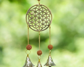 11 inch Golden Wind Chime with Brass Bells & Rudraksha Beads - Seed of Life Sacred Geometry, Metal Wind Chimes, Metal Windchimes E0494
