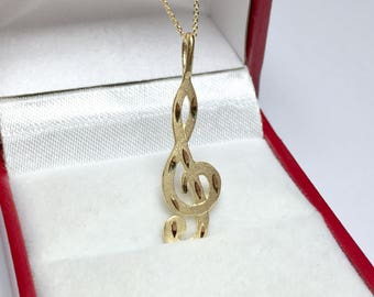 Music Note Charm Pendant, 14KT Yellow Gold Diamond Cut Pendant, Music Note Necklace, Treble Clef, Music Jewelry
