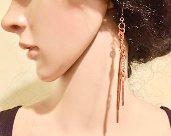 Earrings. Long Copper Earrings. Metal Earrings. Long Dangle Earrings. FREE SHIPPING