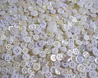 Bulk Lot, 600 Small, White, Translucent, Cream colored Buttons.  (Free US Shipping)