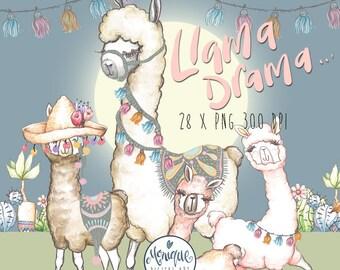 Llama Clipart Watercolor,Cute Llama,Alpaca Clipart,Llama Clip art,Illustration,Nursery art,Baby Shower,Birthday Invitation,Planner Clipart