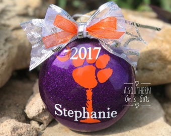 Clemson Tigers Christmas Glass Ornament Personalized With Year and Name