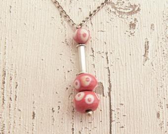 Pink silver necklace, Pink necklace, Silver necklace, Pink glass necklace, Handmade glass beads, Short necklace, Silver pink necklace, Glass