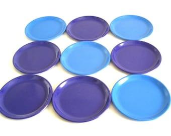 "Zak Designs Plastic Plates Melamine Solid Color Purple Blue White 8.25"" Luncheon or Salad Plate 1990s"
