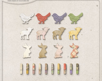 Spring Decorations, Easter, Wooden Bird, Bunny Rabbit, Lamb, Instant Download, Mini Clothespins, Digital Scrapbooking Supplies, For Spring