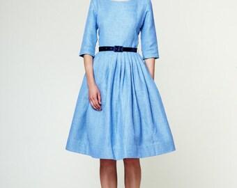 Blue wedding dress 1950s dress 50s dress Plus size dress Tea length dress Light blue dress Blue midi dress Dress with pockets Handmade
