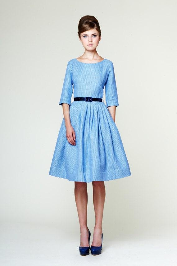 Blue Wedding Dress 1950s Dress 50s Dress Plus Size Dress Tea