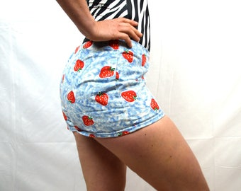 Rare Vintage 1960s Strawberry Mini Shorts Hot Pants