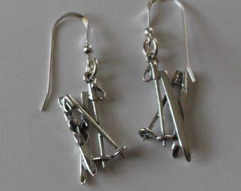 Sterling Silver 3D SKIS & POLES Earrings - Skiing, Wintersports