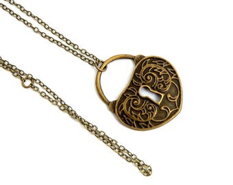 steampunk vintage heart lock necklace