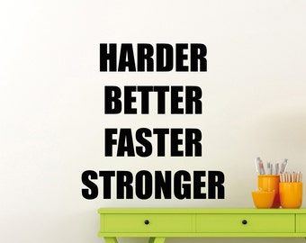 Gym Wall Decal Harder Better Fitness Motivational Quote Vinyl Sticker Home Crossfit Sport Poster Workout Inspirational Art Decor Mural 120gy