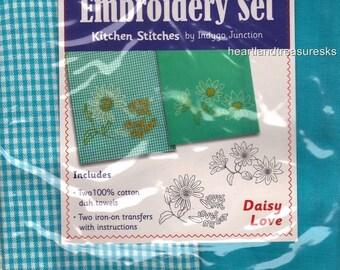 Daisy Love Dish Towel Embroidery Set 2 Towels + 2 Transfer Pattern Kit