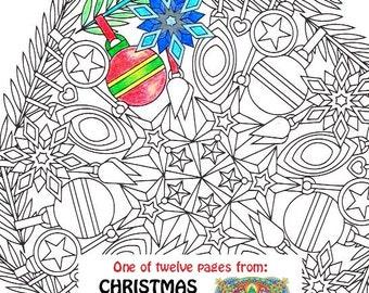 christmas mandala coloring page ornaments printable christmas coloring page adult coloring pages