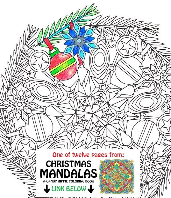 Christmas Mandala Coloring Page Ornaments printable