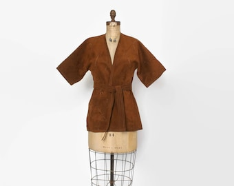 Vintage 90s Wrap Jacket / 1990s Brown Cut-Out Faux Suede Kimono Belted Jacket