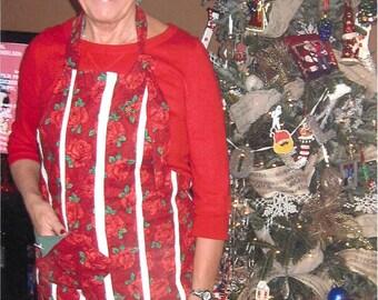 Custom Red Rose White Stripe Full Woman Reversible Apron Arvilla Ruby