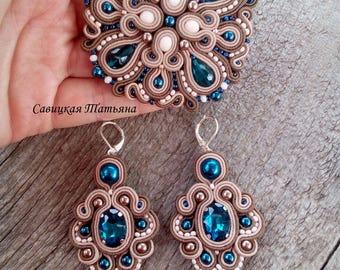 Beige Blue Soutache Set - Hand Embroidered Soutache Jewelry - Beige Blue Soutache Brooch - Beige Blue Soutache Earrings - Statement Jewelry