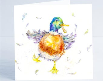 Crazy Duck - Greeting Card  - Taken from an original painting by Sheila Gill.