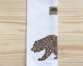 Grizzly Bear made from California Animals Tea Towel Hand Flour Sack Towel