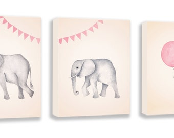 Elephant Nursery - Canvas Nursery Art - Set of 3 - Pink and Gray - Baby Girl Nursery - Nursery Decor - Elephant Artwork - S054B