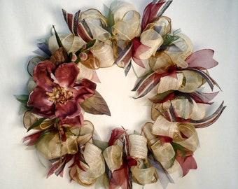 Everyday ribbon wreath, country wreath,  burgundy magnolia/berries  wreath.
