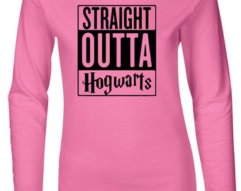 Straight Outta Hogwarts Women's Fitted Long Sleeve T-Shirt
