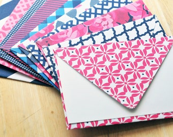 Navy & Pink Greeting Cards // Set of 5 // Blank Cards // Love Note // Thank You // Thinking of You // Patterned Envelope // Advice Card