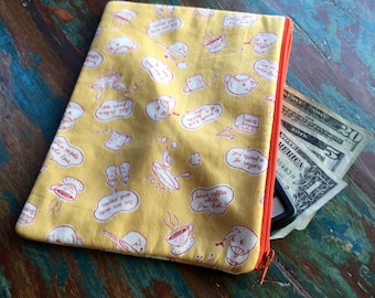 SALE medium zipper pouch spot of tea