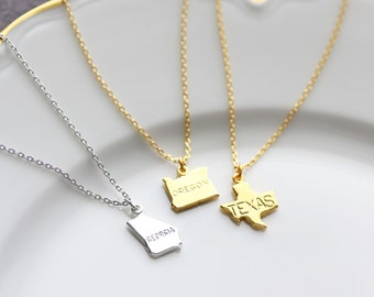 State Necklace - State Charm Necklace, Gift for Her, Graduation Gift, Custom Personalized Bridesmaid Gift Wedding State Pride Minimalist