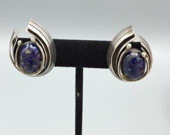 Vintage Piedra Y Plata Lapis and Sterling Earrings Taxco Mexico