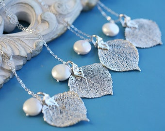 Set of 4,Bridesmaid necklace,Real Aspen leaf sterling silver necklace,leaf necklace,coin pearl,wedding jewelry,bridesmaid pearl necklace