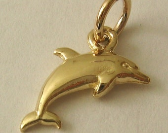 Genuine SOLID 9ct YELLOW GOLD Dolphin charm pendant