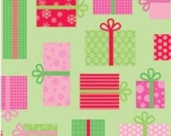 Christmas Candy Green Presents by Doodlebug Designs Inc for Riley Blake, 1/2 yard