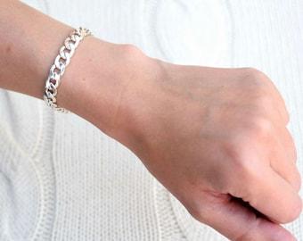 Flat Silver Curb Chain Bracelet