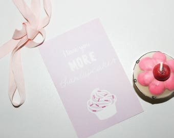 "Postcard ""I Love You More Than Cupcakes"" card"