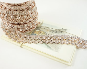 Garniture de style Art déco en or rose strass, Crystal Clear, mariage strass garniture, chaîne de strass, strass Applique, 30mm (1 Qté de pieds)