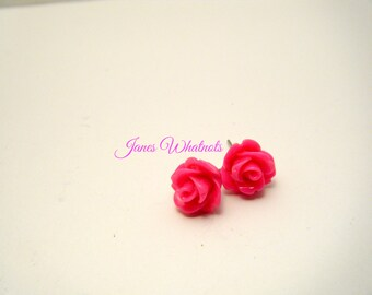 Hot Pink Rose Earrings, Flower Earring