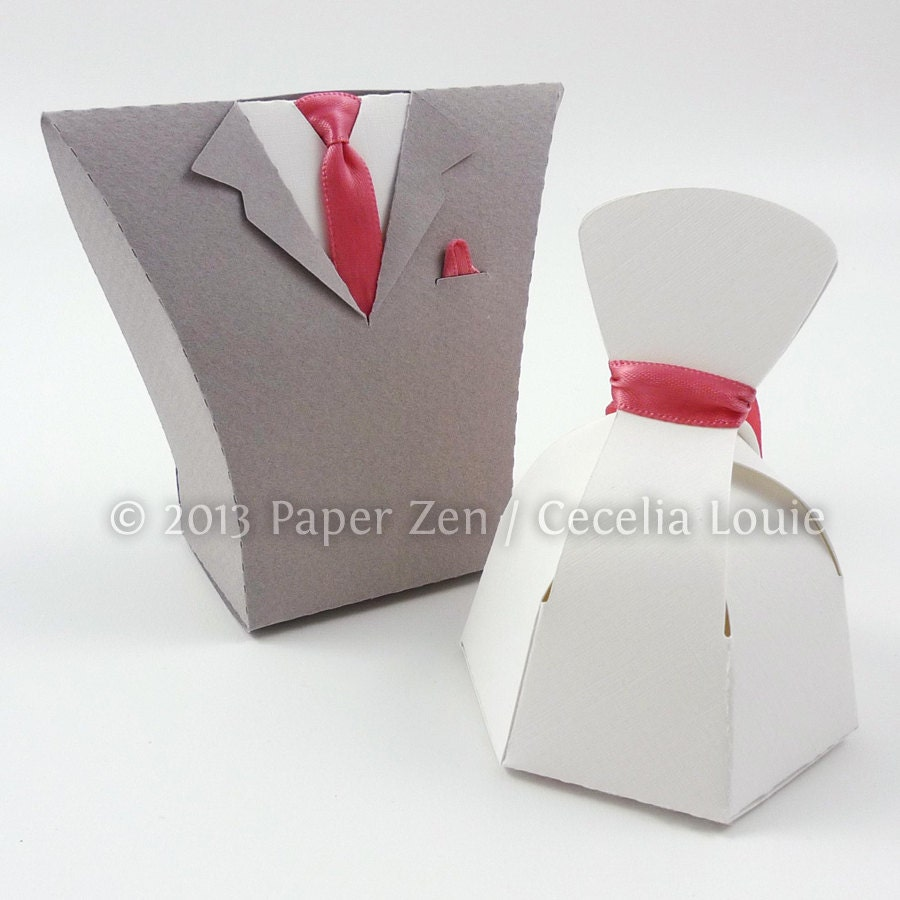 Bride Dress & Groom Tuxedo Paper Gift Box Die Cutting with