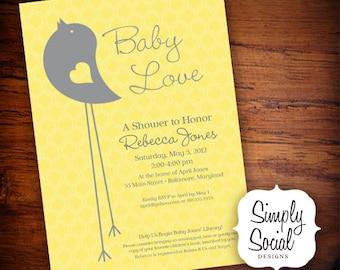 Little Bird Baby Shower Invitation Yellow and Grey