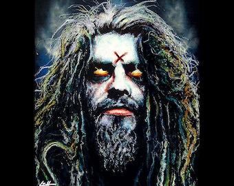 "Print 8x10"" - Rob Zombie - Horror Halloween Captain Spaulding Monster Creature Beard Heavy Metal Corpse Comedy Gothic Director Cinema Pop"