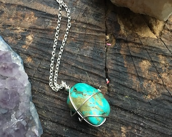 Turquoise stone wire wrapped necklace silver chain healing stone jewelry