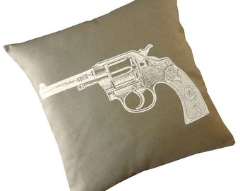 Vintage Gun Revolver silk screened cotton canvas throw pillow 18 inch white on khaki